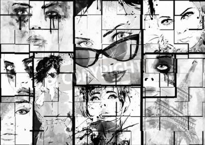 Obraz Piękne kolaże, twarze kobiet. Ręcznie malowane ilustracji mody