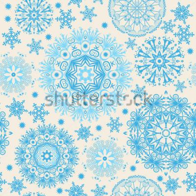 Obraz Piękne płatki śniegu. Abstract background z modnych elements.Vector wzór na projektowanie stron internetowych, tekstylia, projektowanie graficzne.