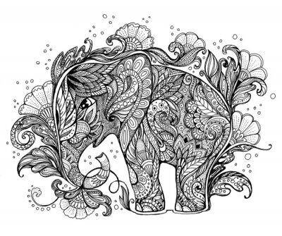 Obraz Piękne ręcznie malowane słonia z ornamentem roślinnym