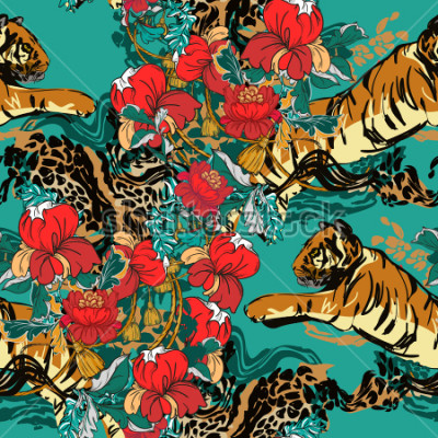 Obraz Piękny abstrakcjonistyczny tygrys z czerwonymi kwiatami i trendu wzorem bezszwowymi. Zaprojektuj tkaninę.