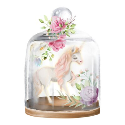Obraz Piękny, jednorożec, magiczny koń i kwiaty w szklanym słoiku mason. Fantazi akwareli ilustracja odizolowywająca na bielu