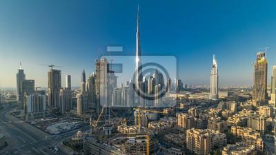 Obraz Piękny luksusowy Dubaj w centrum powietrzny odgórny widok przy zmierzchu timelapse, Dubaj, Zjednoczone Emiraty Arabskie