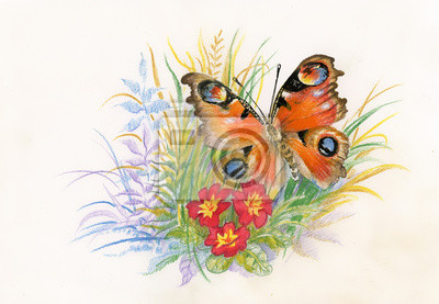 Piękny motyl z kwiatami obraz