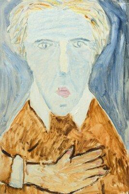 Obraz Piękny oryginalny obraz olejny portret mężczyzny w kolorze pomarańczowym i szarości na płótnie