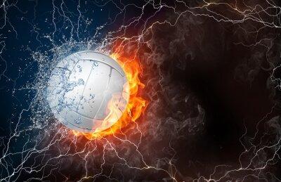 Obraz Piłka Siatkówka w ogień i woda