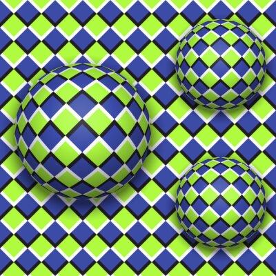 Obraz Piłki staczać się w dół. Streszczenie wektor szwu z złudzenie optyczne ruchu.