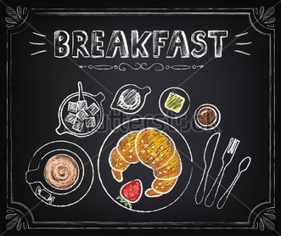 Obraz Plakat w stylu vintage. Śniadanie Rogalik i kawa. Ustaw na platformie w stylu retro