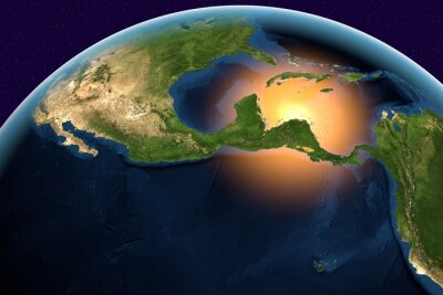 Obraz Planet Earth, the Earth from space showing Central America, Belize, Costa Rica, El Salvador, Guatemala, Honduras, Nicaragua, Panama on globe in the day time, elements of this image furnished by NASA