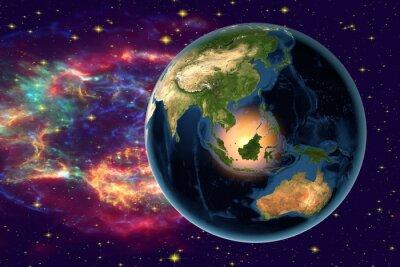 Obraz Planeta Ziemia na tle gwiazd i galaktyk, Ziemia z kosmosu przedstawiający Indonezja, Australia, Indie i Malezja na świecie, w porze nocnej, elementy tego zdjęcia dostarczone przez NASA