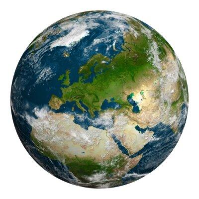 Obraz Planeta Ziemia z chmurami. Europa, część Afryki i Azji.