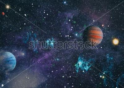 Obraz planety, gwiazdy i galaktyki w kosmosie ukazujące piękno eksploracji kosmosu. Elementy dostarczane przez NASA