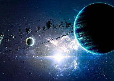 Obraz Planety ponad mgławic w przestrzeni. Elementy tego zdjęcia