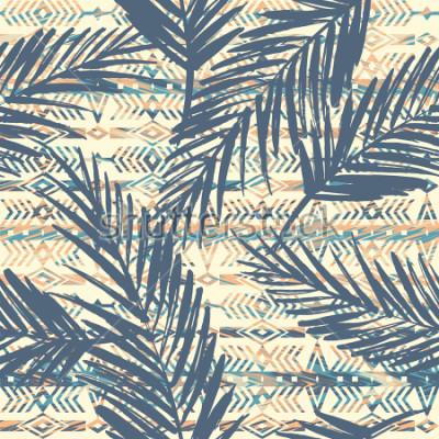 Obraz Plemienny etniczny bezszwowy wzór z palmowymi liśćmi. Tło wektor