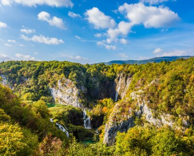 Plitvice lakes and several waterfalls