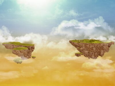 Obraz Pływające wyspy na niebie.