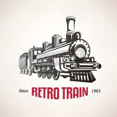 Obraz Pociąg retro, vintage, vector, Symbol, emblemat, szablon etykiety