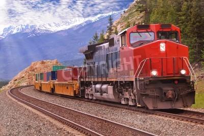 Obraz Pociąg towarowy w Canadian Rockies