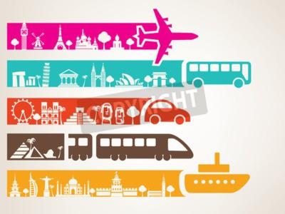 Obraz podróże światowe różnymi środkami transportu, zestaw punktów orientacyjnych