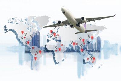 Obraz Pojęcie transportu, importu-eksportu i logistyki, kontenerowiec, statek w porcie i fracht cargo w transporcie i import-eksport Logistyka handlowa, przemysł żeglugowy
