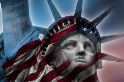 Obraz Pokój ekspozycji obrazu Statua Wolności i flagi amerykańskiej