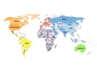 Obraz Polityczna mapa świata na białym tle.