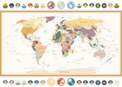 Obraz Polityczna mapa świata z płaskich ikon i globes.Vintage kolorach.