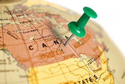 Obraz Położenie Kanada. Zielony pin na mapie.