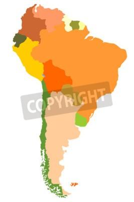 Obraz Południowa Ameryka- szczegółowej mapie