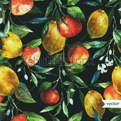 Obraz pomarańczowy, cytrynowy, akwarela, tło, ciemny, wzór