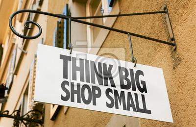 Obraz Pomyśl duży sklep mały znak w konceptualnych