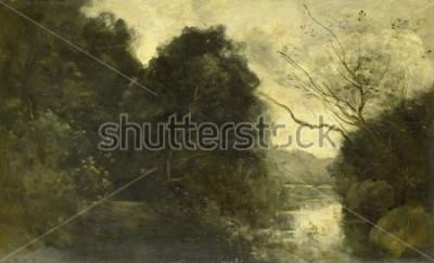Obraz Pond in the Woods, Camille Corot, 1840-75, francuskie malarstwo, olej na desce.