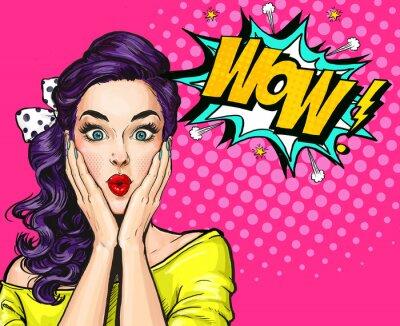 Obraz Pop Art ilustracja, zaskoczony girl.Comic kobieta. Wow.Advertising plakat. Dziewczynka Pop Art. Zaproszenie na przyjęcie.