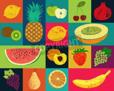 Obraz Pop Art stylu grunge owoce plakatu. Kolekcja retro owoce. Vintage wektor zestaw owoców.