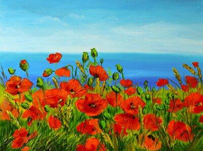Obraz poppy field near the sea, colorful coast, art oil painting