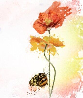 Obraz Poppy Flowers Watercolor