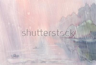Obraz poranny deszcz akwarela krajobraz