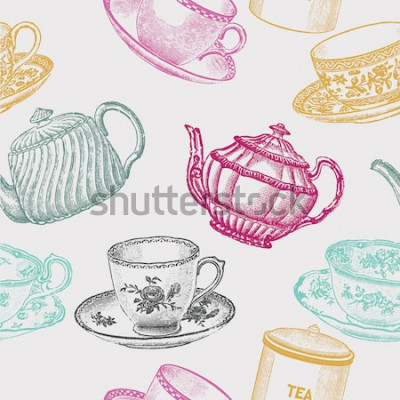 Obraz porcelanowa herbata vintage. wzór