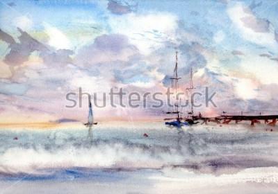 Obraz port morski akwarela