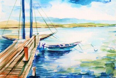 Obraz Port nad jeziorem genevskim - ilustracja ręcznie malowana