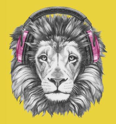 Obraz Portret Lwa ze słuchawkami. Ręcznie rysowane ilustracji.