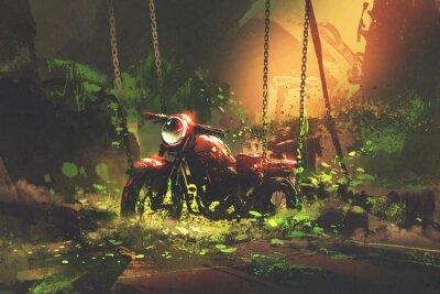 Obraz Porzucony zardzewiały motocykl w porośniętych roślinnością, cyfrowy styl artystyczny, ilustracja malarstwa