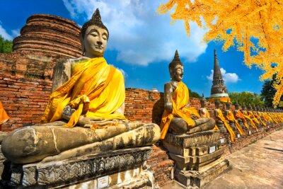 Obraz Posągi Buddy w Ayutthaya, Tajlandia