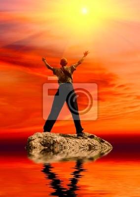 postać człowieka pod słońcem