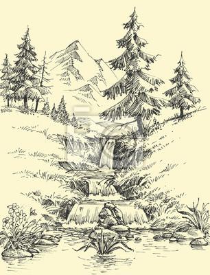 Obraz Potok w górach. Krajobraz alpejski wodospad