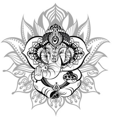 Obraz Powitanie Piękne karty z Elephant.Ornament Boga Ganesha