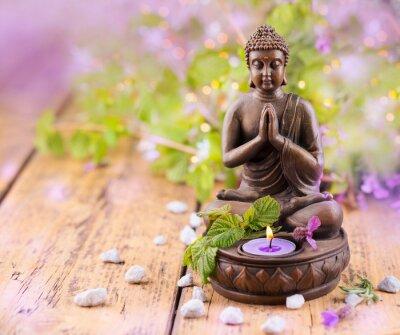 Obraz Praying Buddy z świec i lawendy