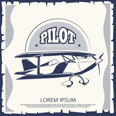 Obraz Projekt etykiety - zabytkowy samolot plakatowy