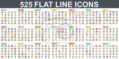 Obraz Prosty zestaw ikon płaskiej linii wektor. Zawiera takie ikony, jak biznes, marketing, zakupy, bankowość, handel elektroniczny, SEO, technologia, medycyna, edukacja, tworzenie stron internetowych i wie