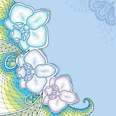 Obraz Przerywana Orchidea Phalaenopsis lub ćma z ozdobną koronką w pastelowych kolorach na niebieskim tle. elementy kwiatowe w stylu dotwork.