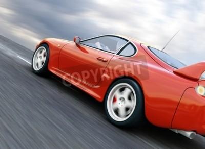Obraz Przyspieszenie Czerwony samochód sportowy na Rozmyte drogi asfaltowej. 3D Render